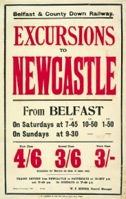 lrish Railway Timetable Poster, Excursions To Newcastle From Belfast,  Northern Ireland